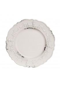 Bajo plato 33 cm en polipropileno color blanco envejecido